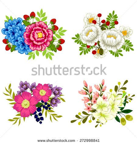 Set Flower vector flowers set colorful floral collection 库存矢量图