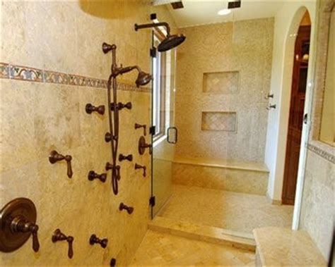double shower mediterranean bathroom los angeles
