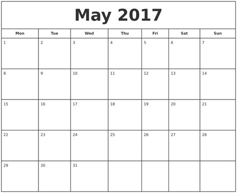 printable calendar starting with monday may 2017 print free calendar