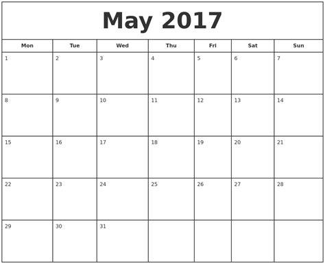 printable calendar starting monday may 2017 print free calendar