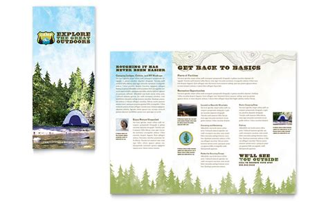 nature camping amp hiking brochure template design