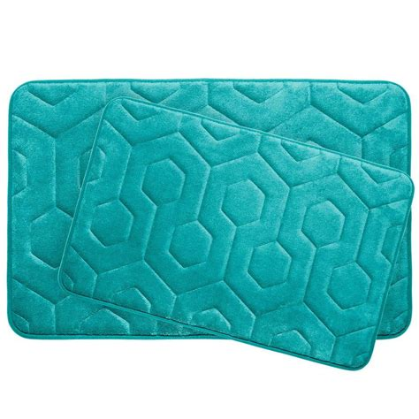 turquoise bath rugs bouncecomfort hexagon turquoise 20 in x 34 in memory foam bath mat set 2 ymb004380