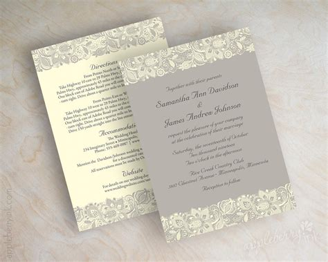 Printed Wedding Invitations by Lace Printed Wedding Invitations Sang Maestro