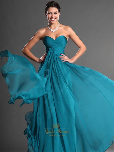 Teal Bridesmaid Dress by Teal Sweetheart Strapless Chiffon Bridesmaid Dresses With
