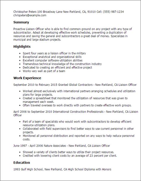 customer service officer resume professional liaison officer templates to showcase your