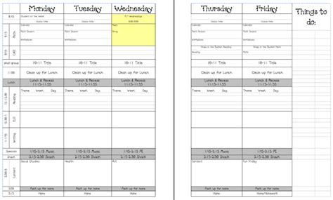 planning template for teachers 5 day lesson plan template
