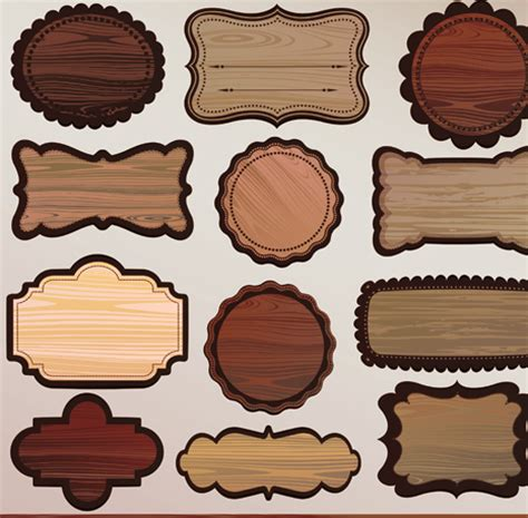 various wooden label design vector 03 over millions