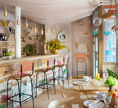 cool  eclectic upcycled restaurant interior design