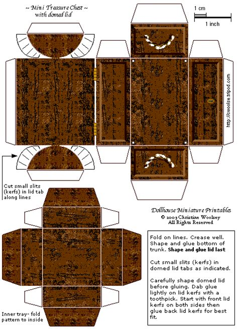 free printable treasure chest template new additions at dollhouse miniature printables