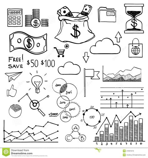 how to create money in doodle draw doodle elements money and coin icon stock