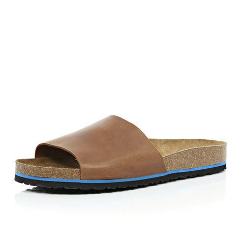 brown slide sandals river island brown leather slide sandals in brown for