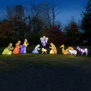 Illuminated stained glass nativity life size