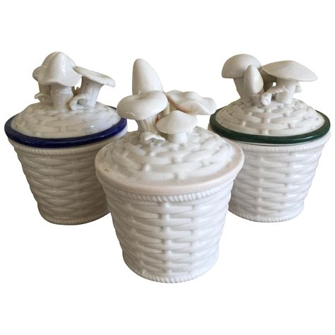 vintage white ceramic canisters set of 3 by bonnbonn on etsy vintage ceramic mushroom canisters set of 3 chairish