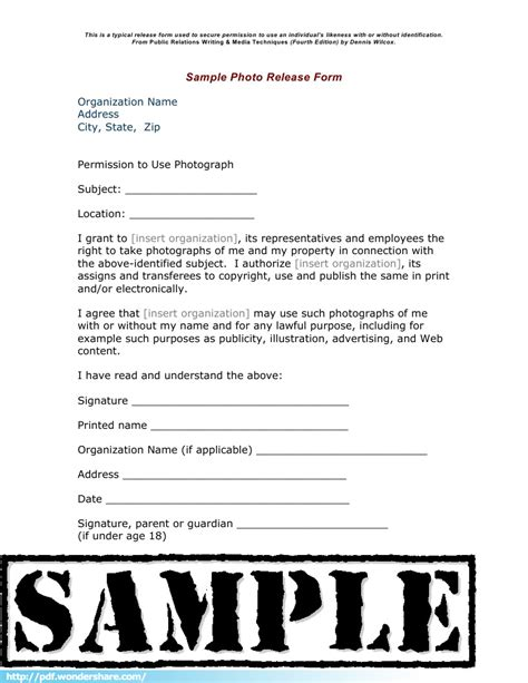 Photo Release Free Download Create Edit Fill And Print Photo Print Release Form Template