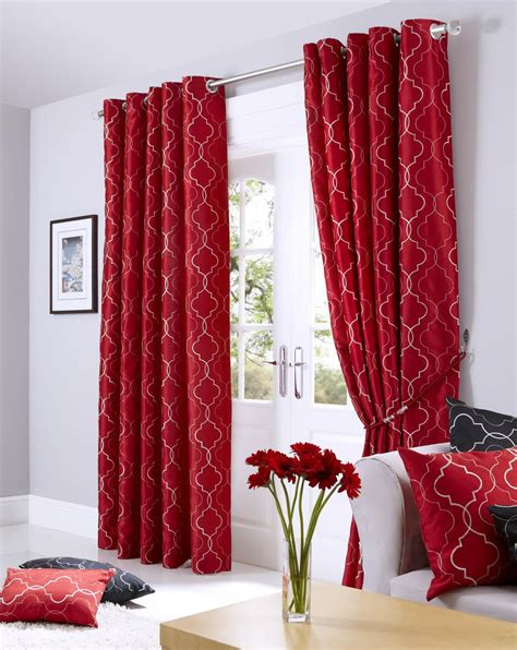 red and cream curtains with eyelets danielle cream and red pair of eyelet curtains