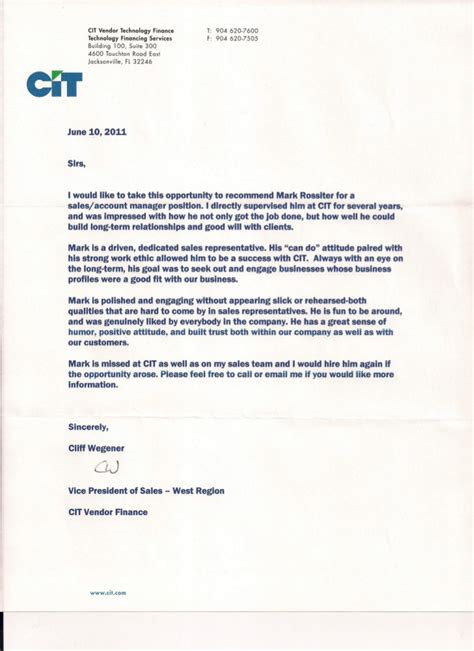 Reference Letter Vendor Wegener Letter Of Recommendation