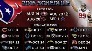 houston texans home schedule texans 2016 schedule includes five primetime matchups
