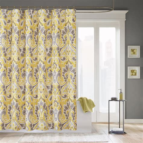 gray yellow shower curtain yellow and gray curtains decofurnish