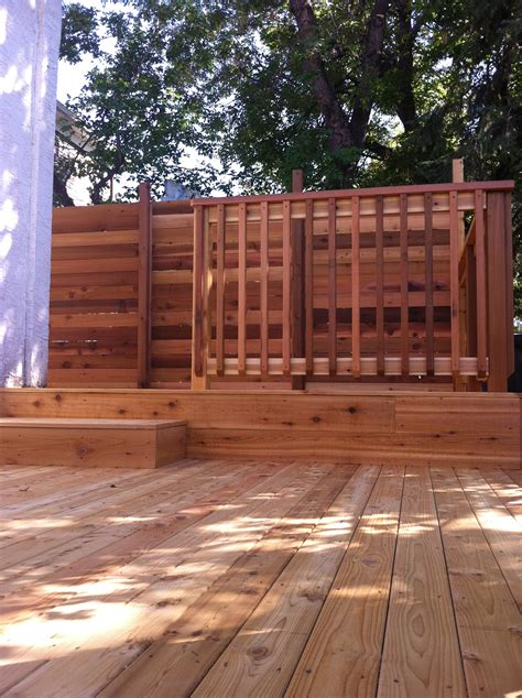 two tier cedar deck with privacy screen deckrative