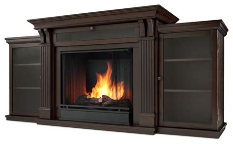 walnut gel fuel fireplace entertainment unit