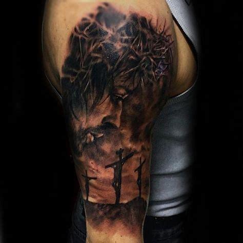 jesus tattoo arm sleeve 25 best ideas about men sleeve tattoos on pinterest