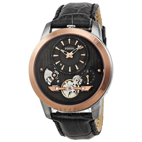 Fossil M1157 Rosegold Black Leather fossil grant black black gold tone leather mens me1125