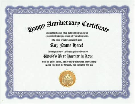 happy anniversary award certificate husband wife gift
