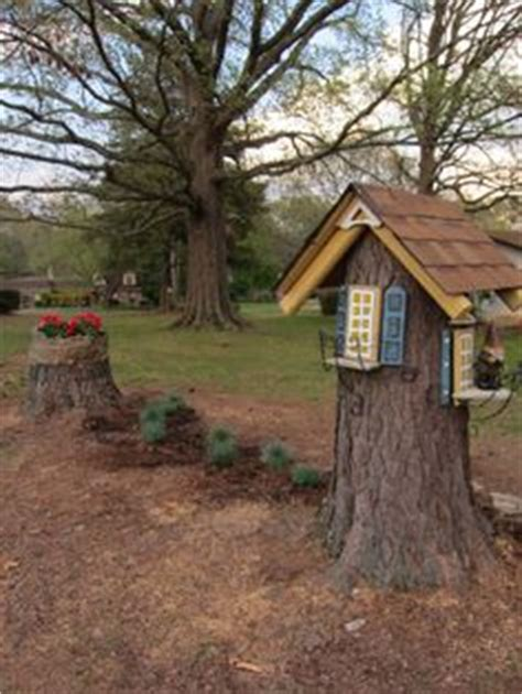 gnome houses on gnome house tree stumps and