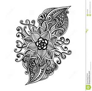 coloring book wallpaper zen doodle decorative flower black on white stock vector