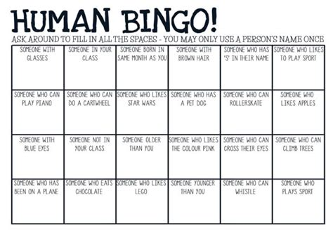 printable pdf human bingo game ice breaker by