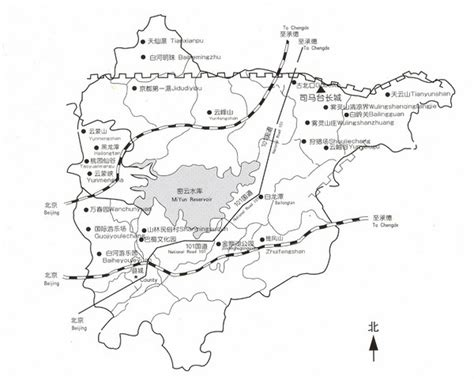 Great Wall Of China Map Outline by Great Wall Of China Tourist Map Simatai Mappery