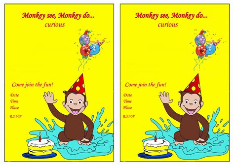 curious george birthday card template curious george birthday invitations birthday printable