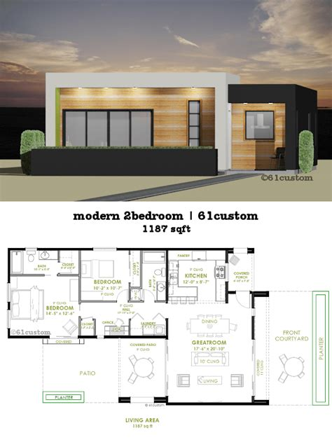 Unique House Plans With Open Floor Plans by Modern 2 Bedroom House Plan 61custom Contemporary