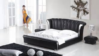 3 vela modern wing genuine black leather bedroom set