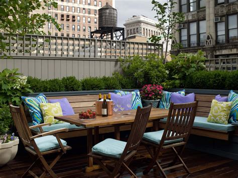 outdoor banquette bench seating on the deck brooklyn heights brownstone