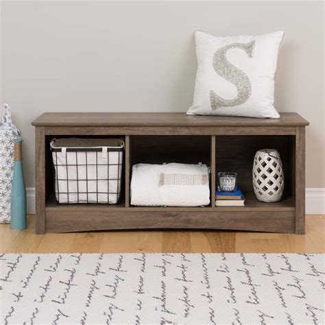 4 cubby storage bench 3 cubby storage bench in drifted gray dsc 4820