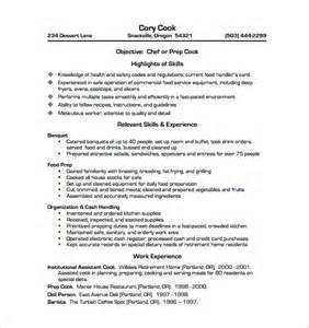 Exle Resume Cook Position Resume Sle For Cook Position Gallery Creawizard
