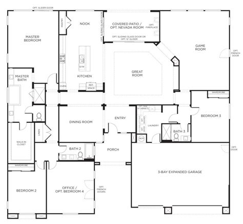 4 bedroom bungalow floor plan cottage house plans houseplanscountry open floor plan and