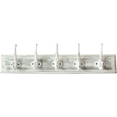 Hook Rack by New Wooden White Distressed 5 Hook Coat Rack Ebay