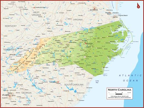 physical map of nc political features of carolina images