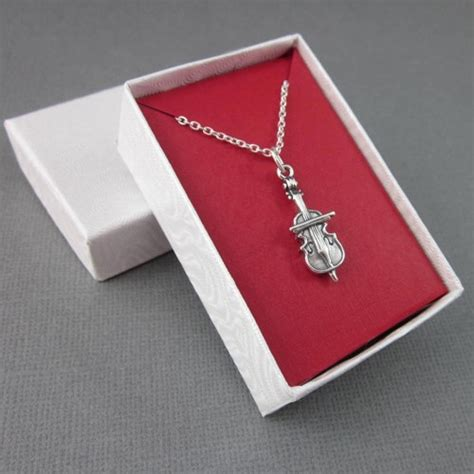 Gift Box Necklace sterling silver cello charm necklace dimensional with chain gift box thesingingbeader on artfire