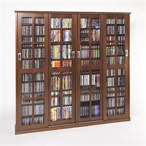 Sliding Door Dvd Cabinet Glass Sliding 4 Door Cd Dvd Multimedia Cabinet Walnut Ebay