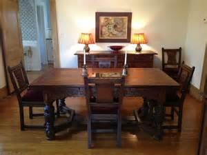Oak Dining Room Set Vintage 1930s Jamestown Furniture Company Feudal Oak