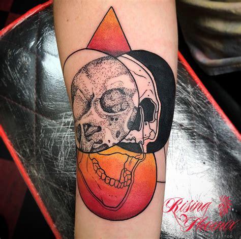 tattoo expo phoenix 2018 dotwork black and colour skull rising phoenix tattoo