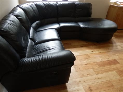 Superior Quality Italian Black Leather Corner Sofa For Quality Leather Sofas Sale