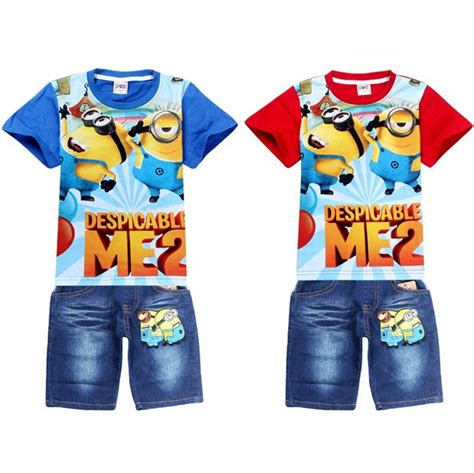 summer minion clothes sets despicable me children t shirts