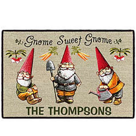 Gnome Welcome Mat by Gnome Sweet Gnome Personalized Doormat Findgift