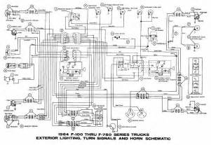 interior light turn signals and horn schematic diagram of 1964 ford f100 f750 series trucks
