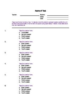 Free Multiple Choice Exam Template 12 Questions Classroom Management Microsoft Word Quiz Template
