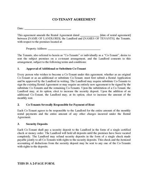co tenancy agreement legal forms and business templates